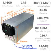Li-ION ajoakkupaketti 48V 2383Wh laturilla